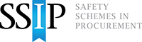 Safety Schemes in Procurement logo in black letters with the I in white and upon a blue ribbon