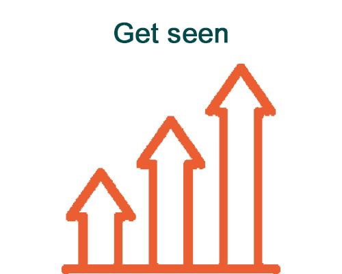 Get seen - 3 arrow illustration