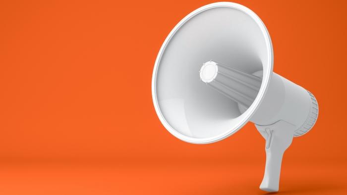 3d rendering of megaphone on orange color background. Advertisement, announcement message.