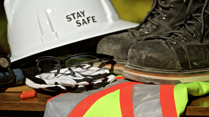 Stay safe construction image with PPE equipment