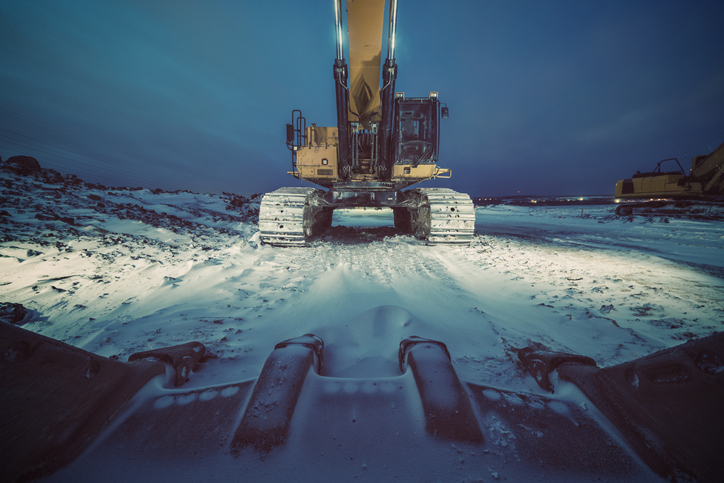 Excavator in the snow
