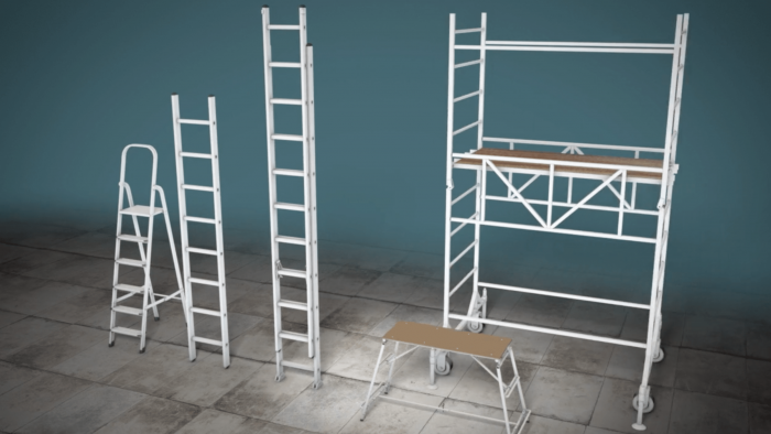 Three types of ladder used in construction