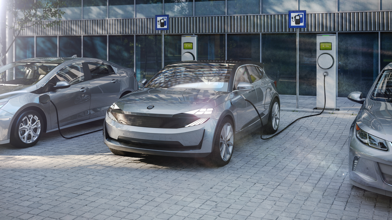 electric suv of the future charging electricity with public charger