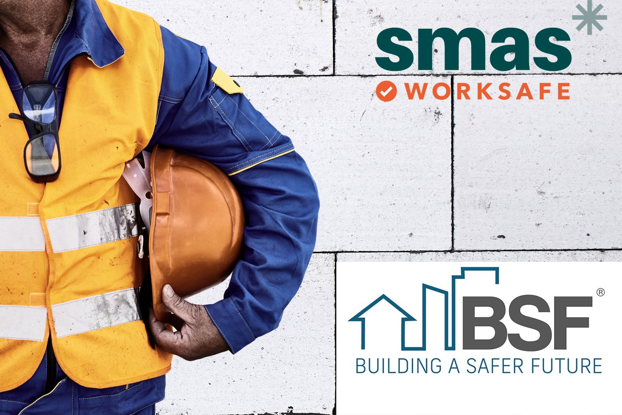 Construction Worker With Hi-Visibility Safety Jacket and Hard Hat SMAS Worksafe and building a safer future
