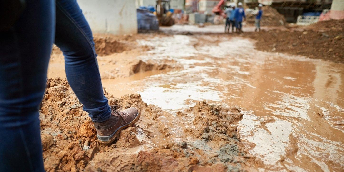 Wet, muddy construction site
