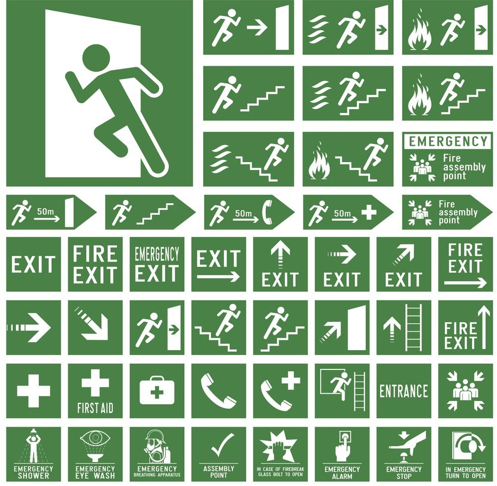 Emergency exit and first aid signs.